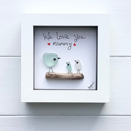 Mother's Day. Sea Glass Art Framed Picture, Free UK Delivery