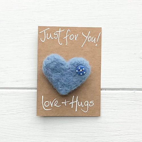 4. Just for You! Woollen Heart  fridge magnet or brooch inc. p+p