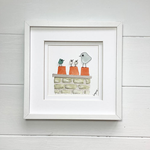 Sea Glass Art Bird Family Framed Picture, Free UK Delivery