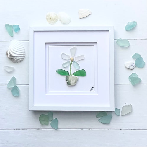 Sea glass and beach pottery flower framed picture