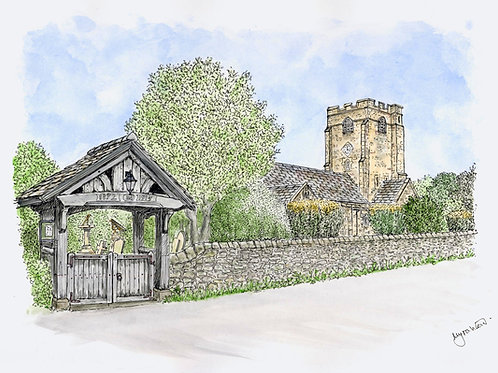 Barbon Church mounted print