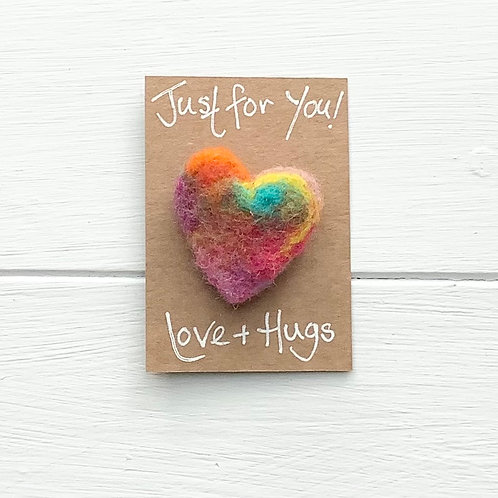 7. Just for You! Woollen Heart  fridge magnet or brooch inc. p+p