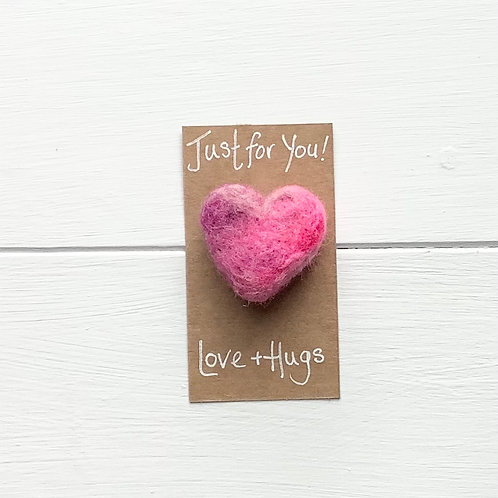 11. Just for You! Woollen Heart  fridge magnet or brooch. Inc p+p.