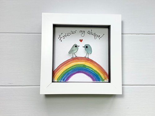 Valentine Gift, Sea Glass Art Framed Picture, Free UK Delivery