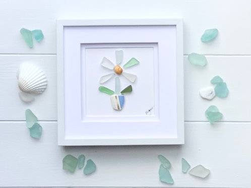 Sea glass and beach pottery flower art framed picture