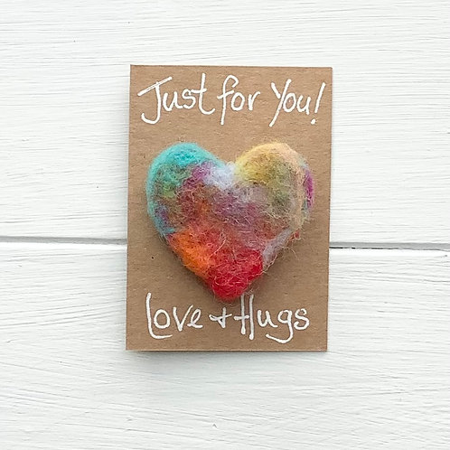 9. Just for You! Woollen Heart  fridge magnet or brooch inc. p+p