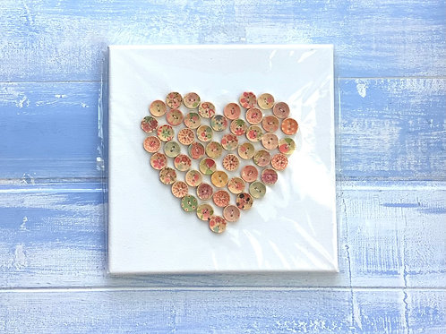 Vintage Style Button Picture Heart