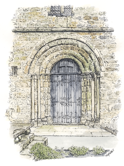 Doorway, St. Mary's Church, Kirkby Lonsdale mounted print