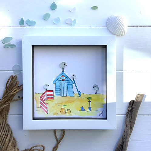 Beach party sea glass picture. Free Uk delivery