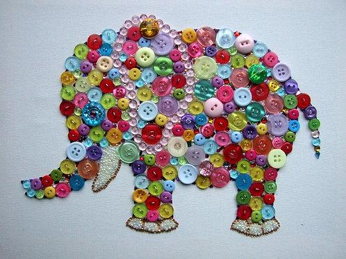 Elephant multi colour Button picture