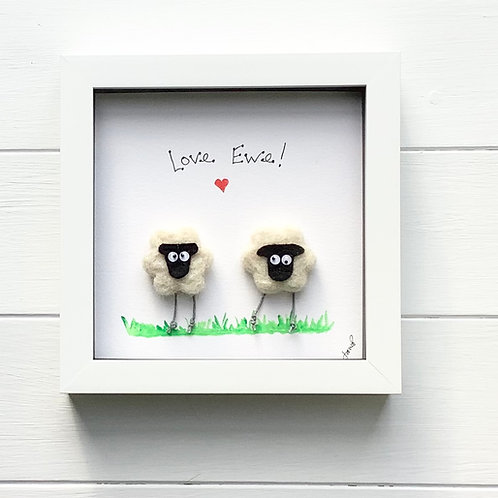 Sheep 'Love Ewe' framed picture. Free UK delivery.