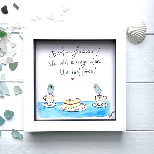 Sea glass art framed picture. Best friend gift. Free UK delivery
