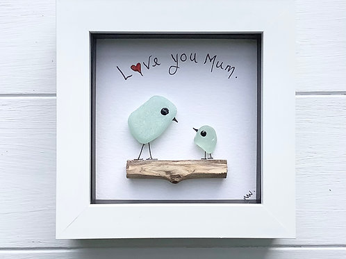 Mother's Day sea glass Art framed picture. Free UK p+p