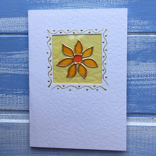 Handmade  Card. Yellow square flower. 3