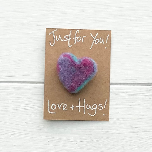 6. Just for You! Woollen Heart  fridge magnet or brooch inc. p+p