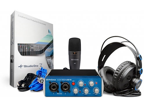 PRESONUS AudioBox 96 Studio Bundle AudioBox 96 USB mit Mik, Kopfhörer und Kabel