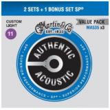 3 Set Pack Authentic Ac. Ph. Bronze .011-.052 Custom Light, (1x MA535 for Free !