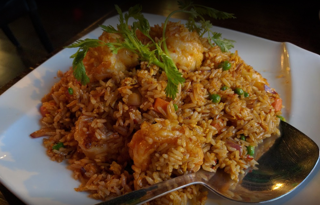 Malaysian style fried rice with shrimp