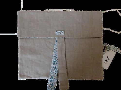 Pochette en lin et tissu japonais avec noeud