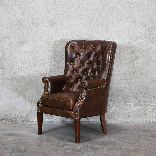 Asher Leather Armchair - Brown