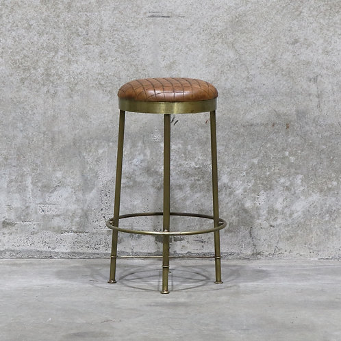 Chandri Brass Finish & Ribbed Brown Leather Barstool