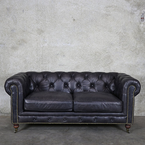 Harvard Leather Chesterfield - 2 Seater - Soft Touch Black
