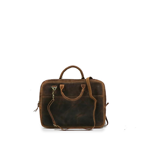 Vintage look, genuine leather, laptop bag