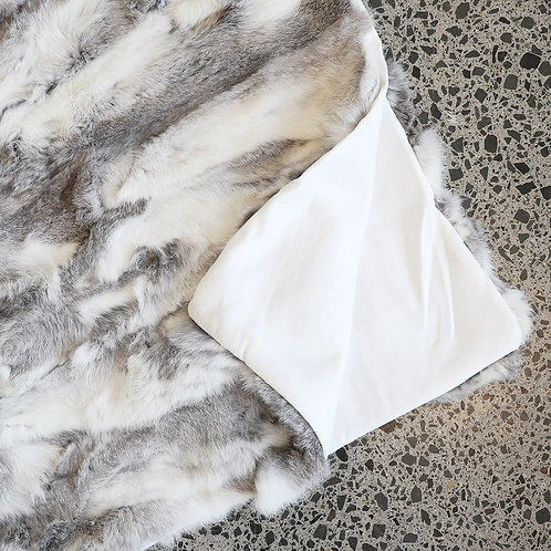 Arctic Rabbit Throw - Patched Grey & White