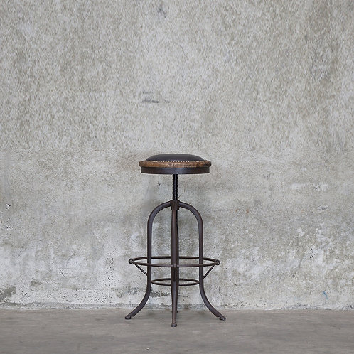 Clement Stool, Rustic Finish - Leather Seat
