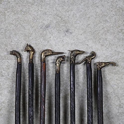 Original Kish Brass & Wood Animal Walking Cane