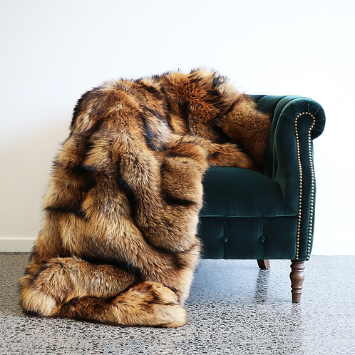 Canadian Raccoon Fur Throw