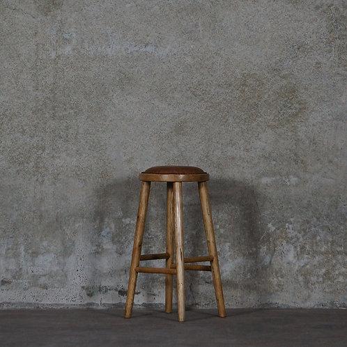 Vaasa Oak Barstool - 65cm - Leather Seat