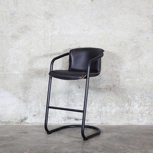 Bealey Leather Barstool - Soft Touch Black