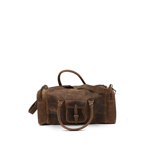 vintage style, genuine leather overnight bag