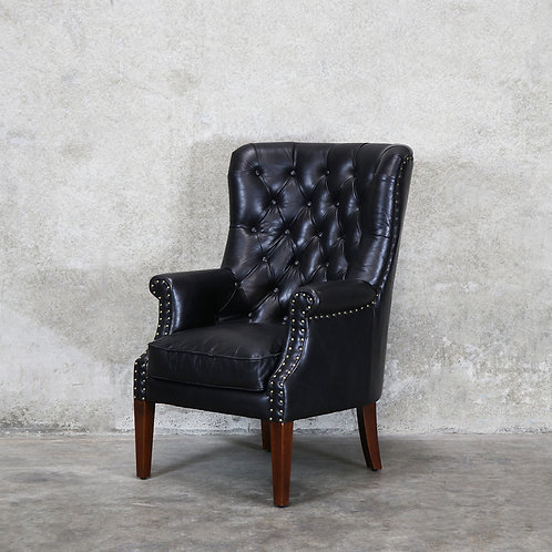 Asher Leather Armchair - Black