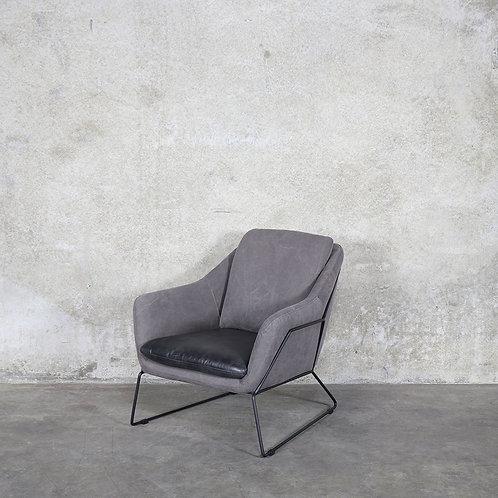 Workshop Leather & Canvas Armchair - Black
