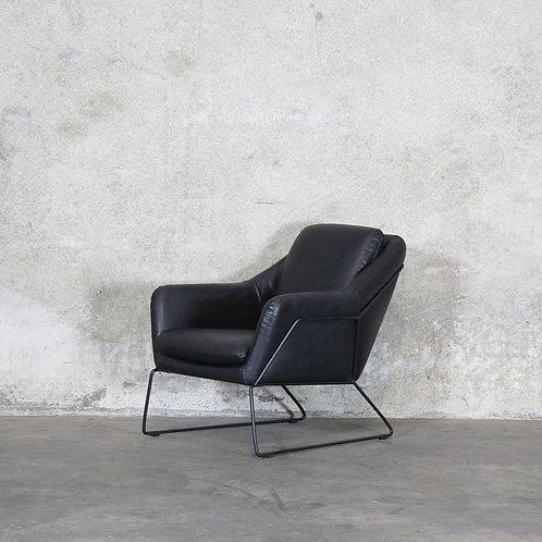 Workshop Leather Armchair - Black