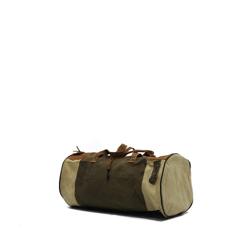 Rustic vintage style leather/canvas duffle bag