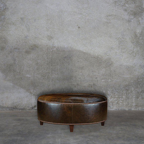 Stanton Cowhide & Leather Ottoman - 115cmd