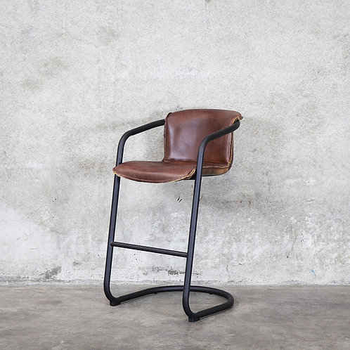 Bealey Leather Barstool - Soft Touch Brown