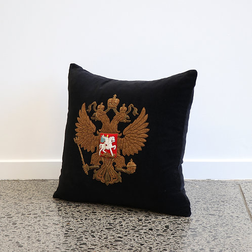 Black velvet cushion, hand embroidered with Persian Eagle.