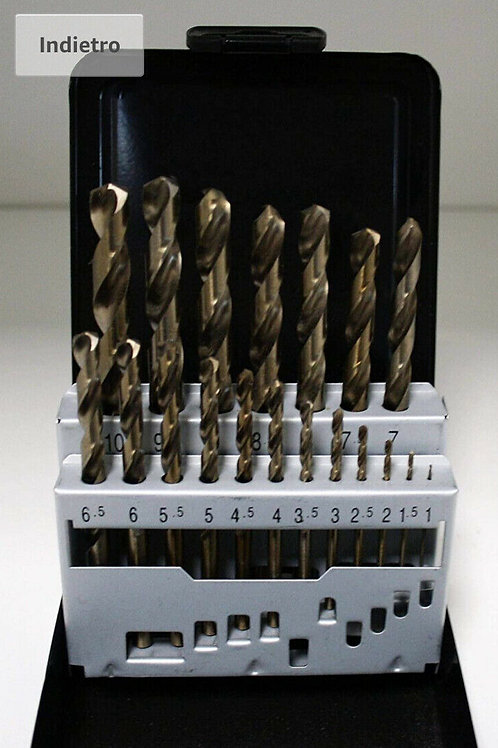 SERIE 19 PUNTE IN HSS X METALLI 1-10 MM - ESECUZ. RETTIFICATA