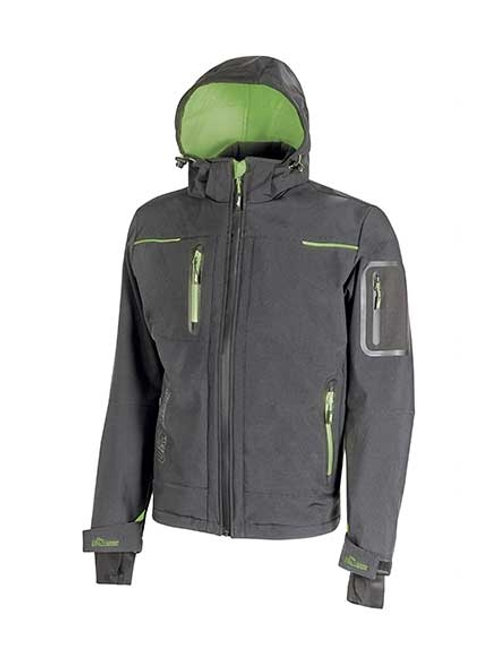 GIACCA U-POWER SOFTHSELL SPACE - GRIGIO/VERDE FLUO