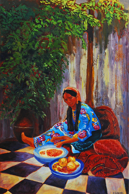 Preparing Pomegranates - 24X36
