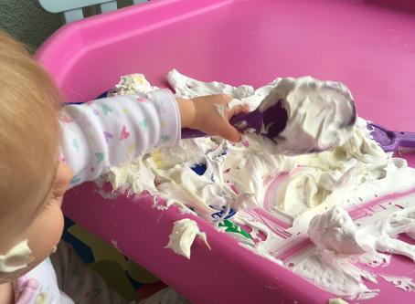 Shaving foam sensory play!