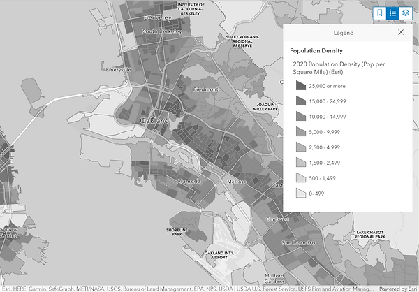 Oakland area - Demographics Dashboard, map symbolized by populaton density