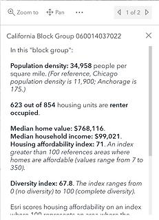 Demographics Dashboard - Popup screenshot