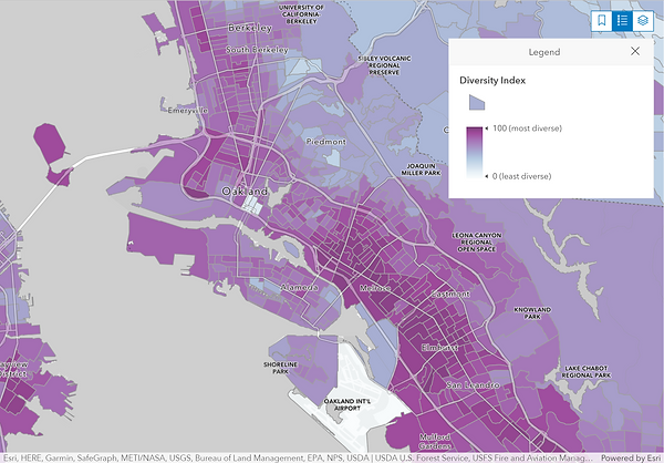 Oakland area - Demographics Dashboard, map symbolized by diversity