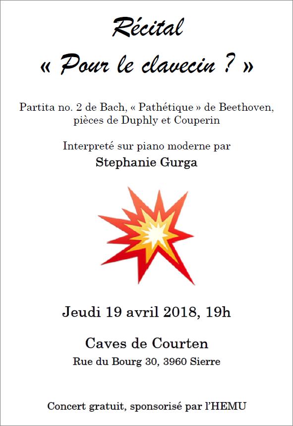 Recital Flyer avril 2018 Stephanie Gurga Beethoven Duphly Couperin