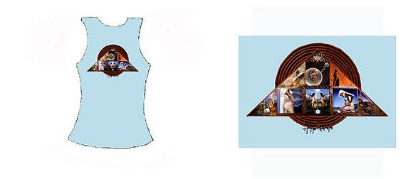 MH Women's Racer Top, light blue - 'Goddess Triangle'